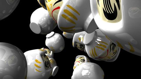 White daruma dolls on black background CG動画