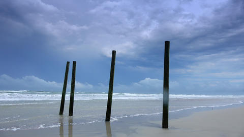 Altlantic ocean with an empty sandy beach Live Action