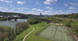 Aerial Rising View of Pittsburgh Skyline from Washington's Landing Footage