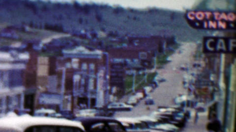 1959: Main Street Cottage Inn Cafe old mining small town Footage