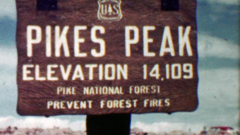1959: Pikes Peak summit high elevation 14,109 sign family trip Footage