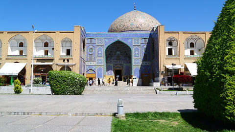 in iran the old square of minaret isfahan prople heritage tourism and mosque Live Action