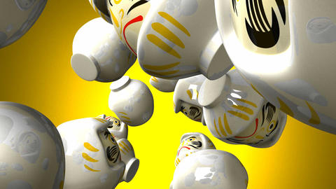 White daruma dolls on yellow background Animation