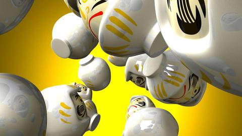White daruma dolls on yellow background CG動画