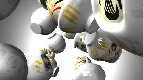 White daruma dolls on white background CG動画