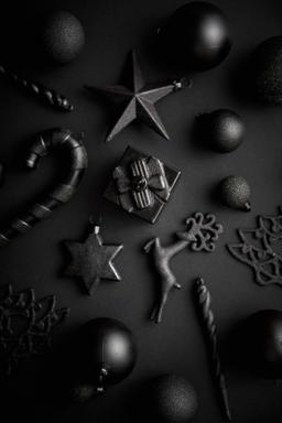 Christmas minimalistic and simple composition in mat black color Photo