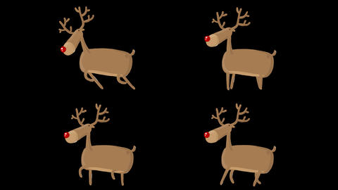 Vector Deer 4 Looped Animations with Alpha Matte Animation