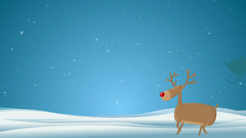 Cartoon Deer wishing a Very Merry Christmas And a Happy... Stock Video Footage