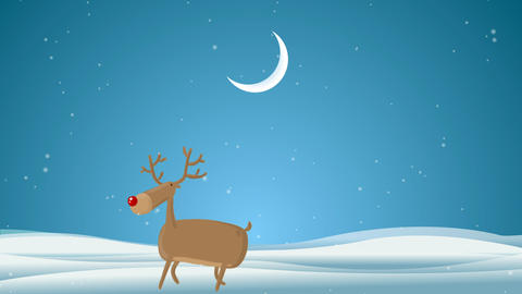 Cartoon Deer wishing a Very Merry Christmas And a Happy New Year Animation