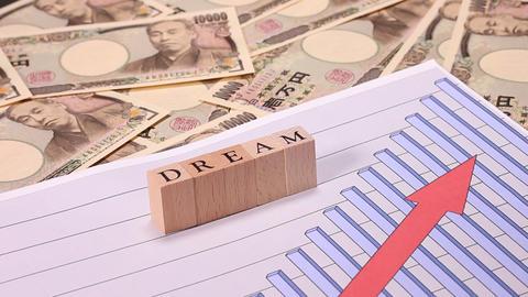 一万円札とグラフとDREAMの文字 ビデオ