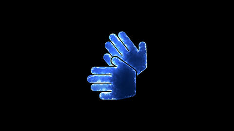 Symbol sign language. Blue Electric Glow Storm. looped video. Alpha channel Animation