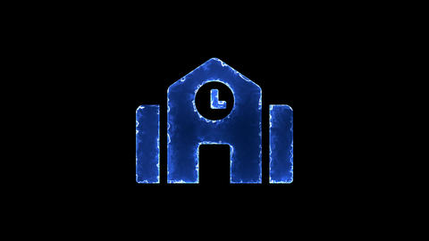 Symbol town hall. Blue Electric Glow Storm. looped video. Alpha channel black Animation
