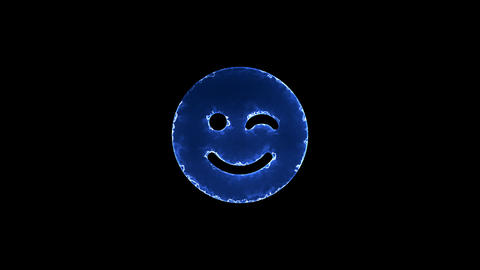 Symbol smile wink. Blue Electric Glow Storm. looped video. Alpha channel black Animation
