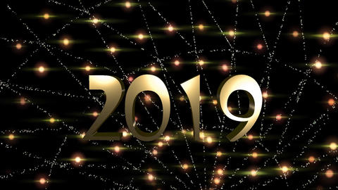 Happy New Year is a Free 2019 particles GOLD HD Video Stock Video Footage