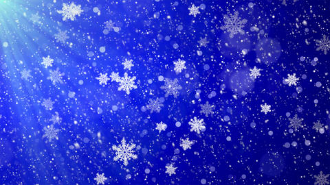 Winter Christmas Background, Falling Blue Left to Right Loop Background Footage