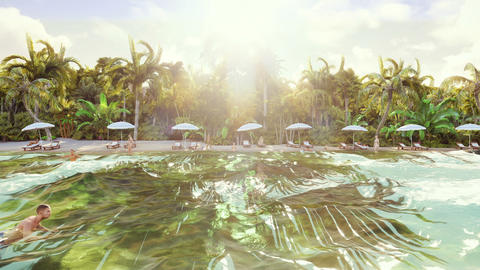 Palm trees over a tropical island with an exotic white beach with bathing people Animation