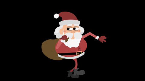 Santa Claus Animation Element 7 - sneaking with sack CG動画素材