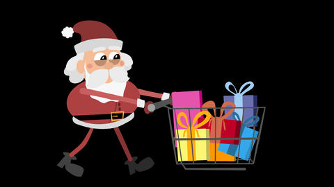 Santa Claus Animation Element 18 - pushing cart with presents Animation