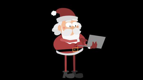 Santa Claus Animation Element 24 - typing on laptop CG動画素材