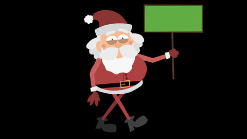 Santa Claus Animation Element 29 - carrying a sign CG動画素材