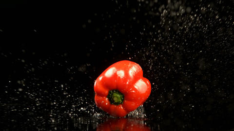 Bell pepper falling on water against black background 4k Live Action