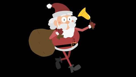 Santa Claus Animation Element 22 - running with sack and bell CG動画素材