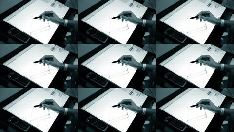 The man with his hand with a special pencil drawing on a large tablet Footage