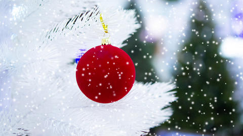 Christmas tree toys decorations and snow-covered Christmas tree branches Live Action
