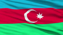 Closeup cropped view of a fluttering national flag of Azerbaijan ビデオ