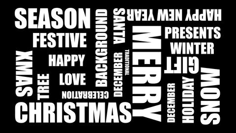Merry Christmas Word Cloud Loop - Animation 20 Words Live Action