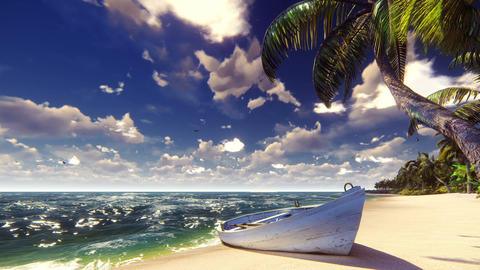 Palm trees on a tropical island with blue ocean, old boat and white beach on a Animation