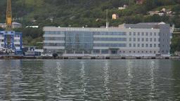Evening view of marine station in Petropavlovsk-Kamchatsky Sea Port ビデオ