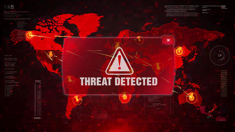 Threat Detected Alert Warning Attack on Screen World Map Loop Motion Live Action