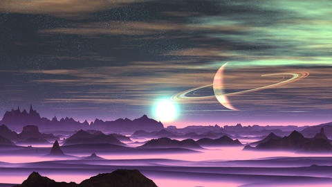 Sunrise Over Alien Planet Animation