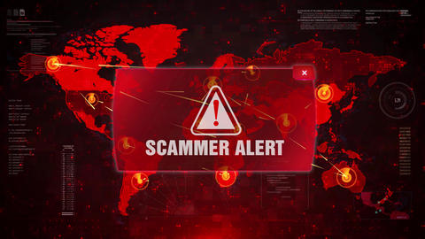 SCAMMER ALERT Alert Warning Attack on Screen World Map Loop Motion Footage