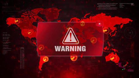 Warning Alert Warning Attack on Screen World Map Loop Motion Footage