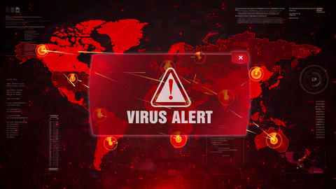 VIRUS ALERT Alert Warning Attack on Screen World Map Loop Motion Footage