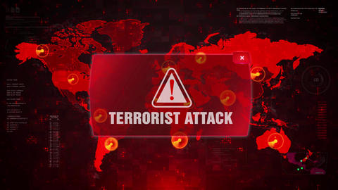 Terrorist Attack Alert Warning Attack on Screen World Map Loop Motion Live Action