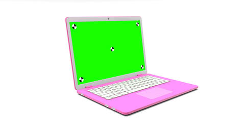 Modern pink laptop with a blank green screen appearing on a white background GIF