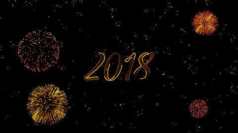 2018 Greeting text with particles, colored fireworks,... Stock Video Footage