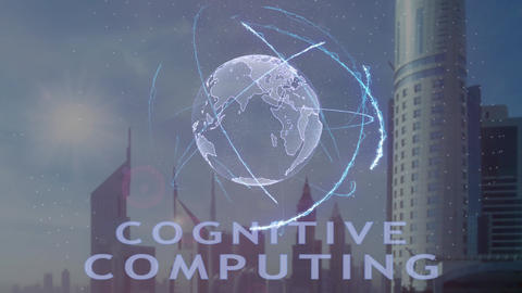 Cognitive computing text with 3d hologram of the planet Earth against the Footage