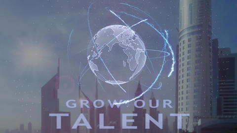 Grow our talent text with 3d hologram of the planet Earth against the backdrop Footage