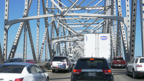 driving in heavy traffic on the Mississippi bridge in Baton Rouge LA 4K Footage