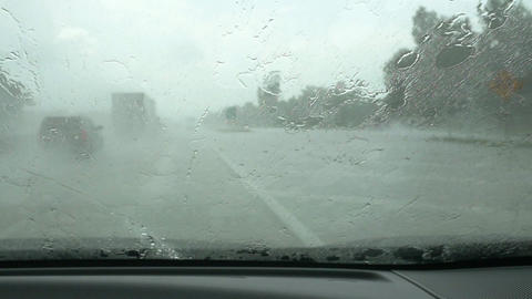 slow motion windsheild wipers driving in the rain Live Action