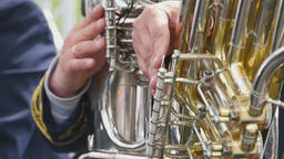 Musicians playing on the golden tubas Footage