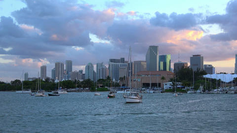 Beautiful evening view over the skyline of Miami in the evening Footage