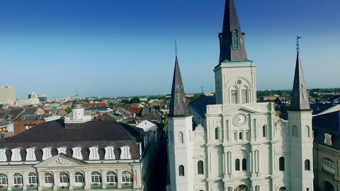 aerial view from Cabildo to Saint Louis Cathedral New Orleans Footage