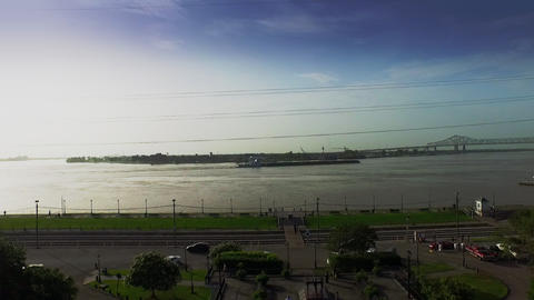 aerial view of Mississippi river barge traffic in New Orleans Footage