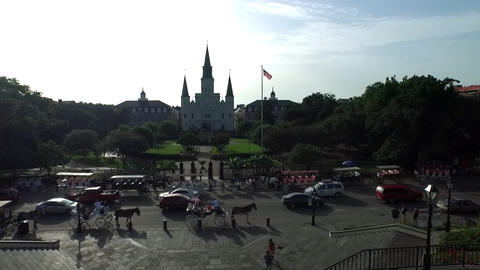 Aerial view of French Quarter from Decatur to Jackson Square Footage