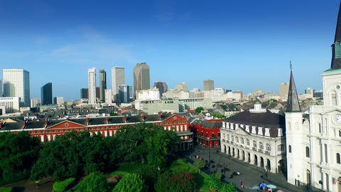 aerial view pan from Saint Louis Cathedral to downtown New Orleans Footage